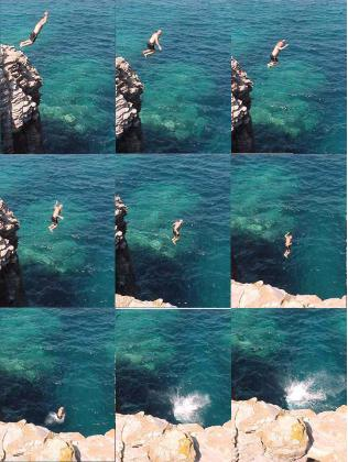 Jumping off a Cliff at Le Colonne Sardegna
